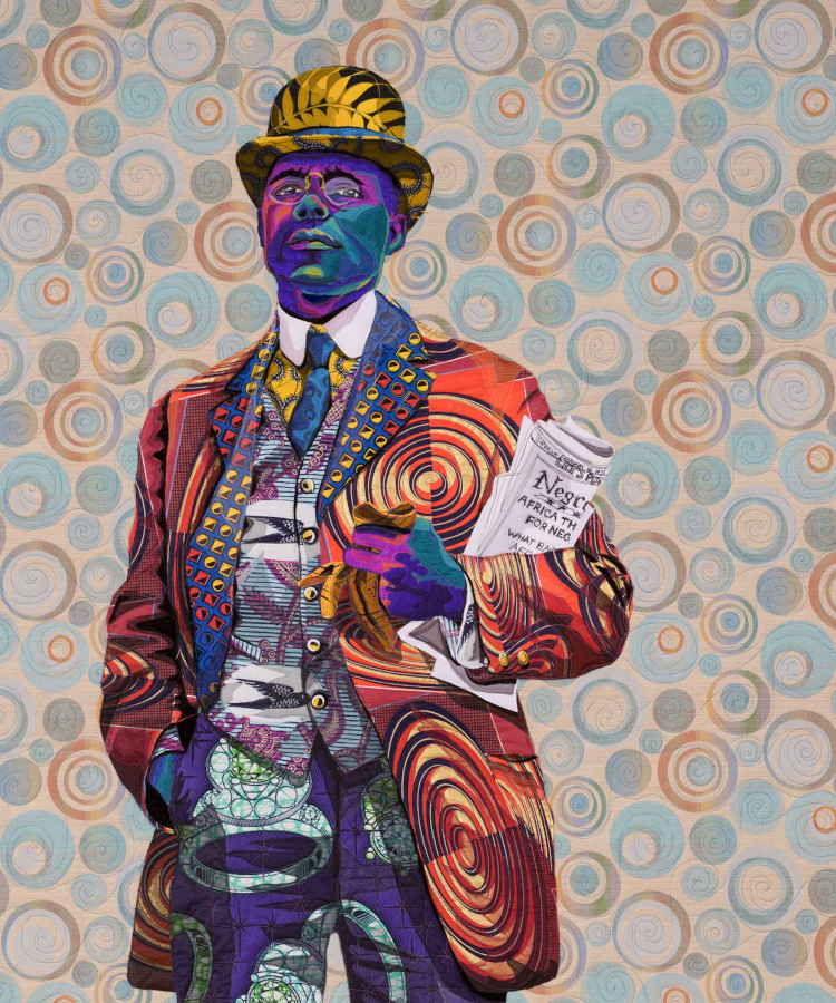 Bisa Butler quilted portrait